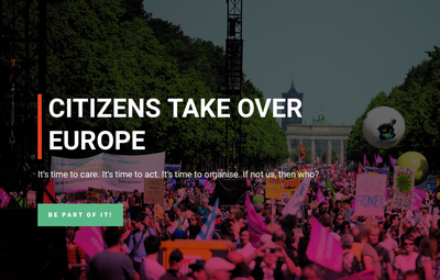 [Translate to deutsch:] Citizens Take Over Europe - It's time to care. It's time to act. It's time to organise. If not us, then who?